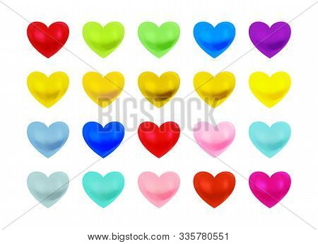Beautiful Multi Coloured Heart Collection Isolated On White Background, Valentines Day, Wedding, Lov