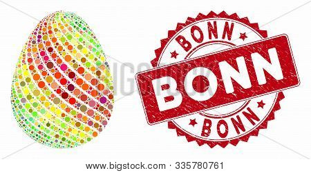 Mosaic Abstract Egg With Diagonal Stripes And Rubber Stamp Watermark With Bonn Text. Mosaic Vector I
