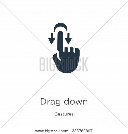 Drag Down Icon Vector. Trendy Flat Drag Down Icon From Gestures Collection Isolated On White Backgro