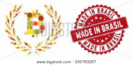 Mosaic Bitcoin Laurel Wreath And Distressed Stamp Seal With Made In Brasil Caption. Mosaic Vector Is