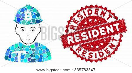 Mosaic Bitcoin Miner And Grunge Stamp Watermark With Resident Text. Mosaic Vector Is Composed With B