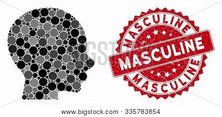 Mosaic Boy Profile And Corroded Stamp Seal With Masculine Text. Mosaic Vector Is Designed With Boy P