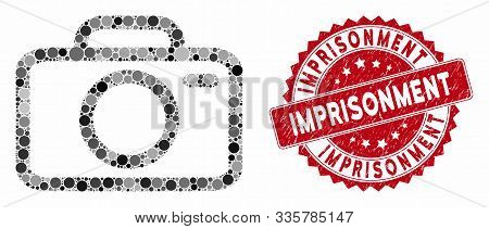 Mosaic Camera And Rubber Stamp Watermark With Imprisonment Text. Mosaic Vector Is Formed With Camera