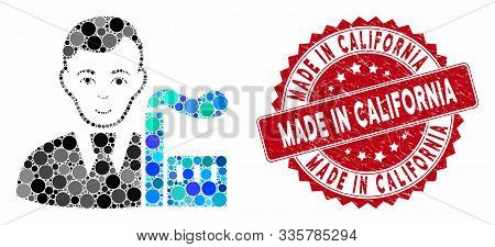 Mosaic Capitalist Oligarch And Corroded Stamp Seal With Made In California Text. Mosaic Vector Is Co