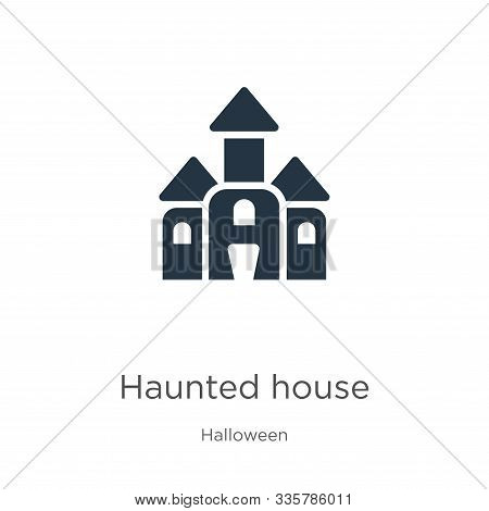 Haunted House Icon Vector. Trendy Flat Haunted House Icon From Halloween Collection Isolated On Whit