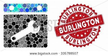 Mosaic Date Options And Grunge Stamp Watermark With Burlington Text. Mosaic Vector Is Composed With