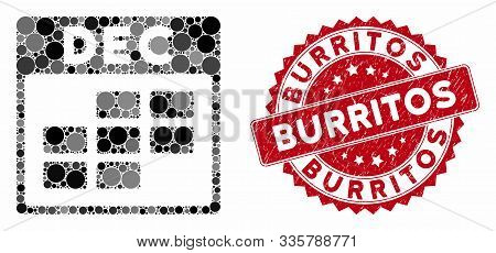 Mosaic December Calendar Grid And Grunge Stamp Seal With Burritos Text. Mosaic Vector Is Formed With