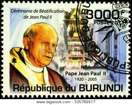 Moscow, Russia - November 25, 2019: Stamp Printed In Burundi, Shows Portrait Of Pope John Paul Ii, D