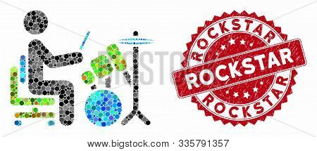 Mosaic Drummer And Distressed Stamp Seal With Rockstar Text. Mosaic Vector Is Designed From Drummer