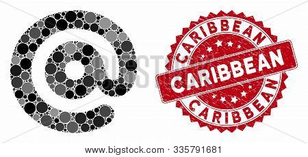 Mosaic Email Symbol And Grunge Stamp Seal With Caribbean Text. Mosaic Vector Is Designed With Email
