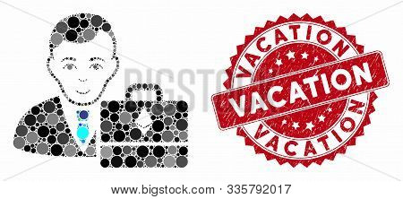 Mosaic Ethereum Accounter And Grunge Stamp Seal With Vacation Phrase. Mosaic Vector Is Designed With