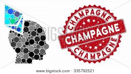 Mosaic Ethereum Penetrated Head And Grunge Stamp Seal With Champagne Text. Mosaic Vector Is Designed