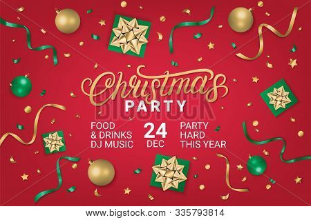 Merry Christmas Party Gorizontal Poster, Flyer, Invitation On Red Background With Gift Box, Shiny Go