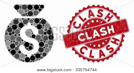 Mosaic Financial Capital And Rubber Stamp Seal With Clash Text. Mosaic Vector Is Composed With Finan