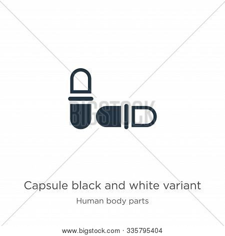 Capsule Black And White Variant Icon Vector. Trendy Flat Capsule Black And White Variant Icon From H
