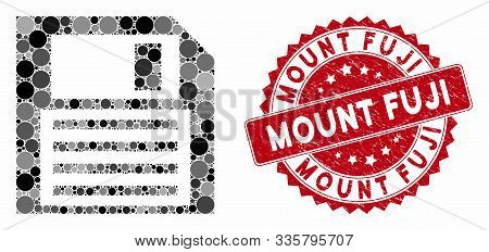 Mosaic Floppy Disk And Rubber Stamp Seal With Mount Fuji Text. Mosaic Vector Is Formed With Floppy D