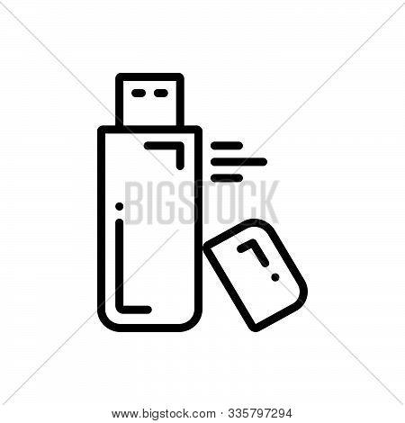 Black Line Icon For Flash-drive Flash Drive Storage Pen-drive  Usb