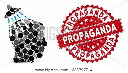 Mosaic Head Shower And Corroded Stamp Watermark With Propaganda Caption. Mosaic Vector Is Designed W
