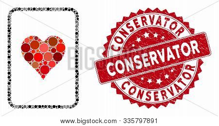 Mosaic Hearts Gambling Card And Grunge Stamp Seal With Conservator Text. Mosaic Vector Is Formed Fro