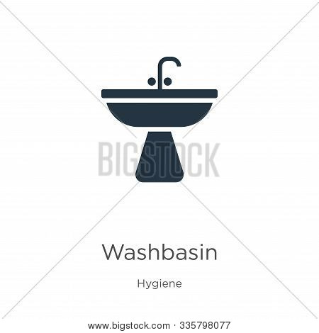 Washbasin Icon Vector. Trendy Flat Washbasin Icon From Hygiene Collection Isolated On White Backgrou