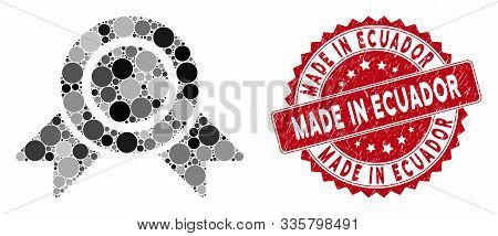Mosaic Honour Medal And Rubber Stamp Seal With Made In Ecuador Phrase. Mosaic Vector Is Designed Wit