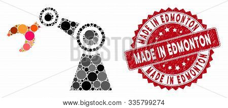 Mosaic Industrial Manipulator And Rubber Stamp Seal With Made In Edmonton Text. Mosaic Vector Is Com