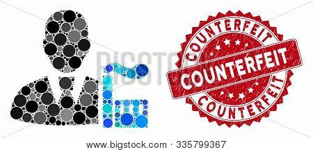 Mosaic Industry Capitalist And Grunge Stamp Seal With Counterfeit Caption. Mosaic Vector Is Formed W