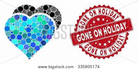 Mosaic Love Hearts And Rubber Stamp Seal With Gone On Holiday Caption. Mosaic Vector Is Created From