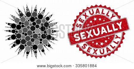 Mosaic Microbe Spore And Rubber Stamp Seal With Sexually Phrase. Mosaic Vector Is Created From Micro