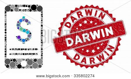 Mosaic Mobile Banking And Distressed Stamp Watermark With Darwin Text. Mosaic Vector Is Formed With