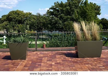 Potted Plants On A Contemporary Style Outdoor Patio Taken In A Residential Garden
