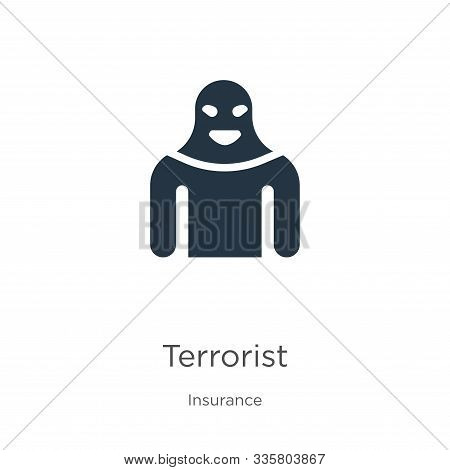 Terrorist Icon Vector. Trendy Flat Terrorist Icon From Insurance Collection Isolated On White Backgr