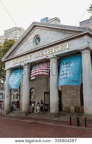 Boston, Massachusetts - October 4th, 2019: Exterior Of Quincy Market On A Fall Day