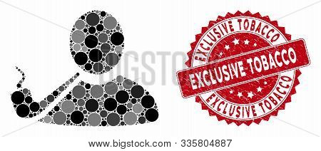 Mosaic Pipe Smoker And Grunge Stamp Seal With Exclusive Tobacco Phrase. Mosaic Vector Is Designed Wi