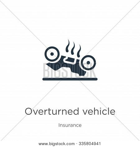 Overturned Vehicle Icon Vector. Trendy Flat Overturned Vehicle Icon From Insurance Collection Isolat