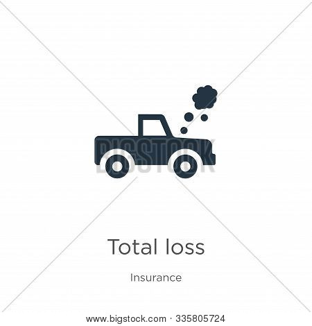 Total Loss Icon Vector. Trendy Flat Total Loss Icon From Insurance Collection Isolated On White Back