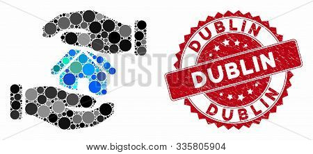 Mosaic Realty Insurance Hands And Corroded Stamp Watermark With Dublin Text. Mosaic Vector Is Create