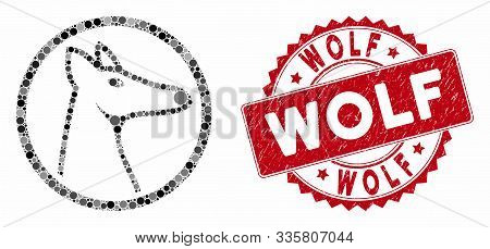 Mosaic Rounded Fox Head And Rubber Stamp Seal With Wolf Phrase. Mosaic Vector Is Designed From Round