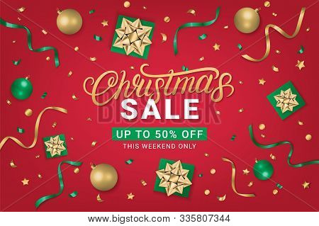 Christmas Sale 50 Off Gorizontal Poster, Flyer, Banner On Red Background With Gift Box, Shiny Golden