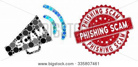 Mosaic Scam Alert Megaphone And Grunge Stamp Watermark With Phishing Scam Caption. Mosaic Vector Is