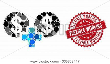 Mosaic Sum Money And Grunge Stamp Watermark With Flexible Working Phrase. Mosaic Vector Is Composed