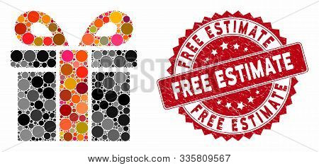 Mosaic Surprize Box And Rubber Stamp Seal With Free Estimate Text. Mosaic Vector Is Formed With Surp