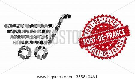 Mosaic Trolley And Grunge Stamp Watermark With Fort-de-france Caption. Mosaic Vector Is Designed Wit