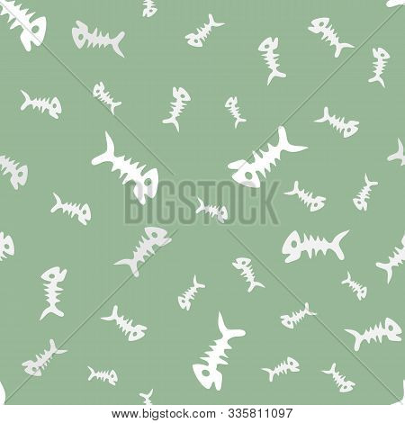 Fish Bones Seamless Vector Pattern. Doodle Dead Fish Silhouettes On Gray Backdrop. Cartoon Fish Skel