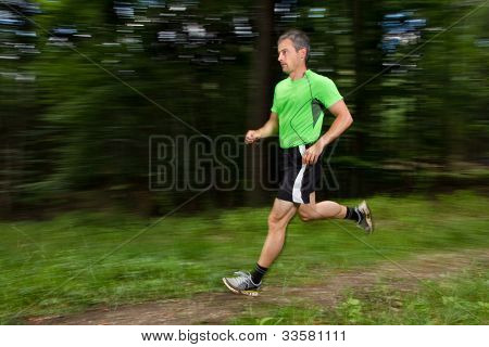 jogger in blurred motion