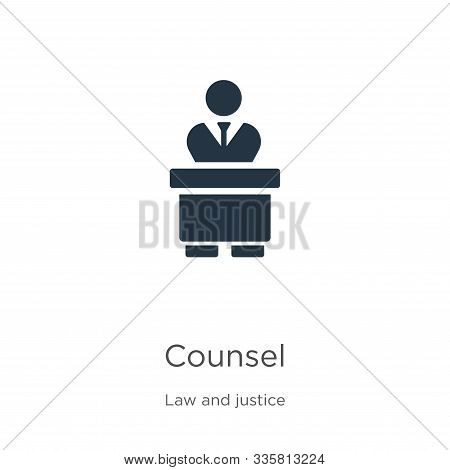 Counsel Icon Vector. Trendy Flat Counsel Icon From Law And Justice Collection Isolated On White Back