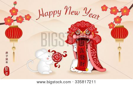 2020 Happy Chinese New Year Of Cartoon Cute Rat Play Dragon Lion Dance And Lantern Plum Blossom Flow