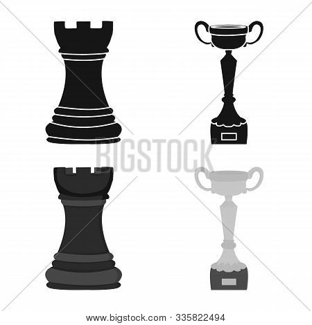 Vector Illustration Of Checkmate And Thin Logo. Collection Of Checkmate And Target Stock Symbol For