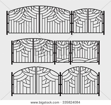 Decorative Grille For Gates, Wickets Or A Fireplace Grate. Stylized Graphics Of Trees In The Park. V