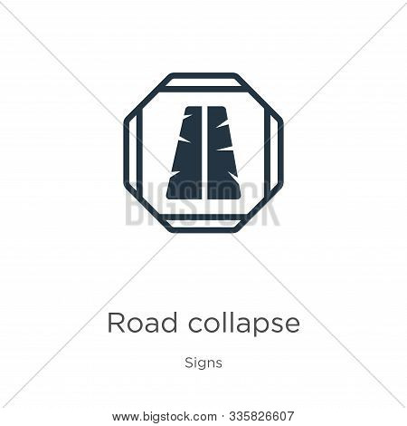 Road Collapse Icon Vector. Trendy Flat Road Collapse Icon From Signs Collection Isolated On White Ba